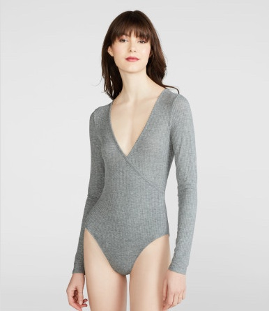 AEROPOSTALE Cape Juby Crossover Bodysuit(L - MED HEATHER GREY)_画像1