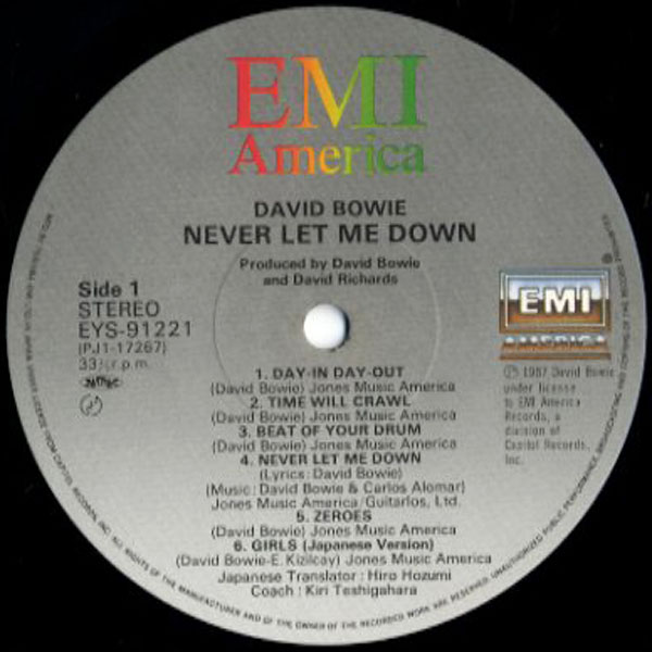 [LP]DAVID BOWIE/デビッドボウイ/NEVER LET ME DOWN/ポスター付き/EYS-91221_画像3