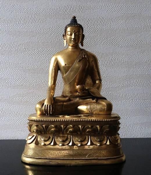 【特別出品】 清早期 ザナバザル様式 蒙古 古銅渡金釈迦牟尼坐像 中国仏教美術仏像