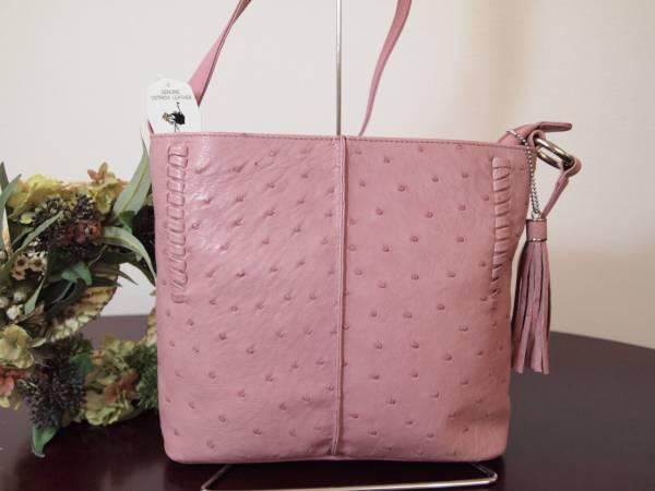 新品タグ付 定6万 本物 オーストリッチ 最高級 ショルダーバッグ ピンク ( 駝鳥 和装 WAK