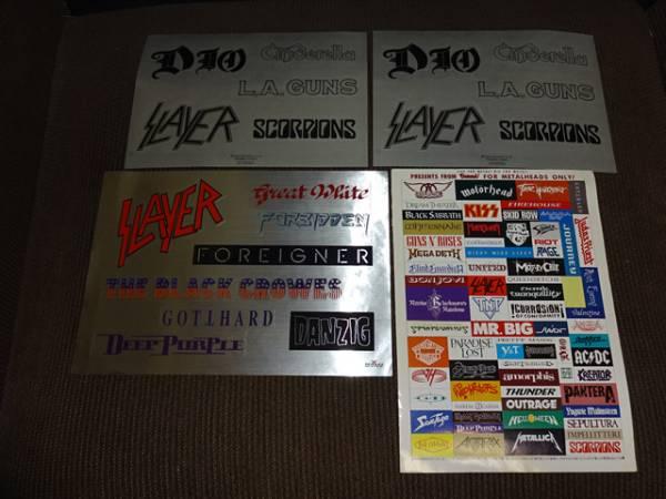 上■ ヘビーメタルバンドのステッカーシート4枚 SLAYER/スコーピオンズ/L.A.GUNSほか