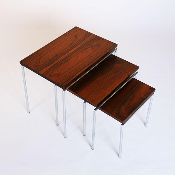 オランダ Brabantia ネストテーブル サイドテーブル ビンテージ ローズウッド ブラバンシ