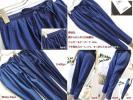 夏 秋 定価約1万 綿100% 大人カジュアル ナチュラル 美脚 膝下ラインが綺麗なデザインパンツ ジョガーパンツ テーパードパンツ 濃紺 L LL