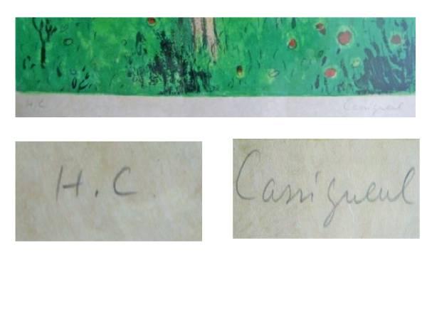 """カシニョール """" リンゴの木 """" 直筆サイン リトグラフ"""