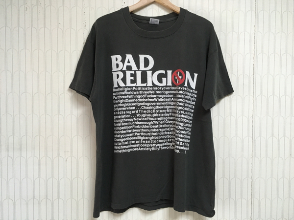 90's BAD RELIGION Tシャツ80's70's GREEN DAY MARILYN MANSON black sabbath ozzy guns kiss acdc nirvana anthrax metallica RANCID NOFX