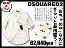 6.3万ディースクエアード DSQUARED2 美シルエットの本格シャツに遊び心を効かせた一枚!飛行機プリント ボタンダウンシャツ イタリア製