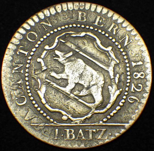 1826年 スイス ベルン 1バッツェン銀貨 熊