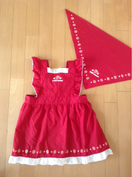美品 マザウェイズ プチママ 子供用エプロン 三角巾 クリエイティブヨーコ 赤 フリル 女の子 120