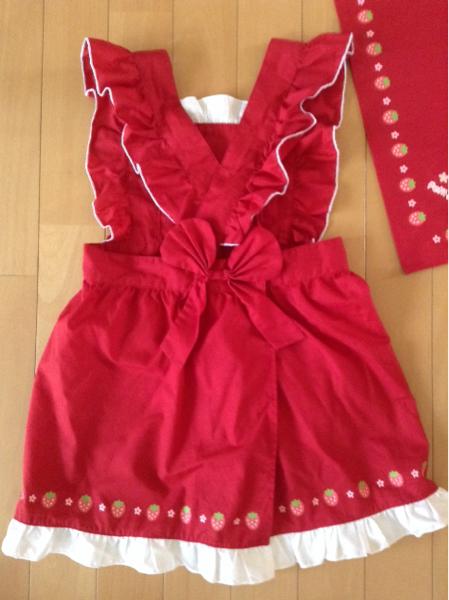 美品 マザウェイズ プチママ 子供用エプロン 三角巾 クリエイティブヨーコ 赤 フリル 女の子 120_画像3