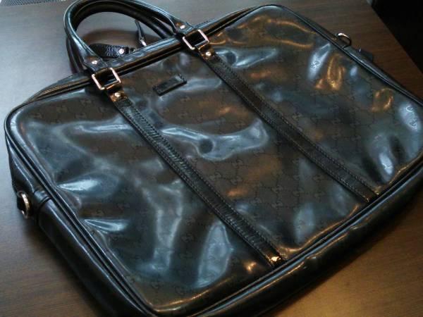 即決 美品 GUCCI グッチ GG柄 インプリメ PVC レザー ビジネスバッグ ブリーフケース 黒 ブラック GGインプリメ 201480 通勤鞄 メンズ 送込