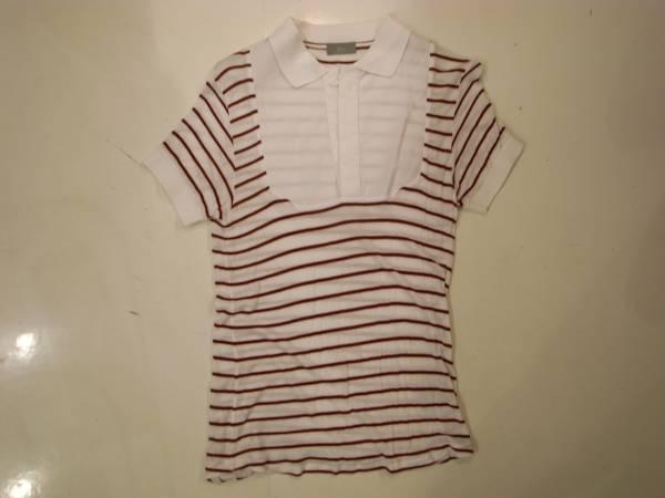 半額以下( XS ) Dior homme ボーダー ドレス ポロ シャツ 半袖 メンズ 白 ディオール オム エディスリマン 42 44 S キムジョーンズ Tシャツ_画像1