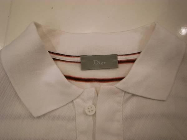 半額以下( XS ) Dior homme ボーダー ドレス ポロ シャツ 半袖 メンズ 白 ディオール オム エディスリマン 42 44 S キムジョーンズ Tシャツ_画像2