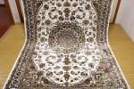高級天然シルク100% ペルシャ柄絨毯 新品未使用 157×247 訳あり アウトレット アイボリー