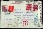 17072401 1次昭和切手2銭、10銭、14銭貼 【台湾差立て 伊宛書留書状】TAKAO欧文櫛型