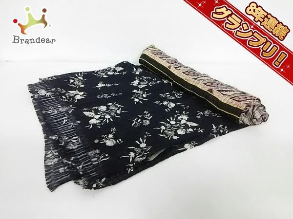 エトロ ストール(ショール) 美品 黒×白×マルチ 花柄 シルク ETRO