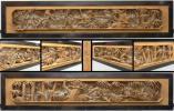 ◇桜谷◇井波彫刻 清光作 細密木彫 松竹梅文 欄間一対 幅 約216cm×約46cm 厚み 約9.5cm