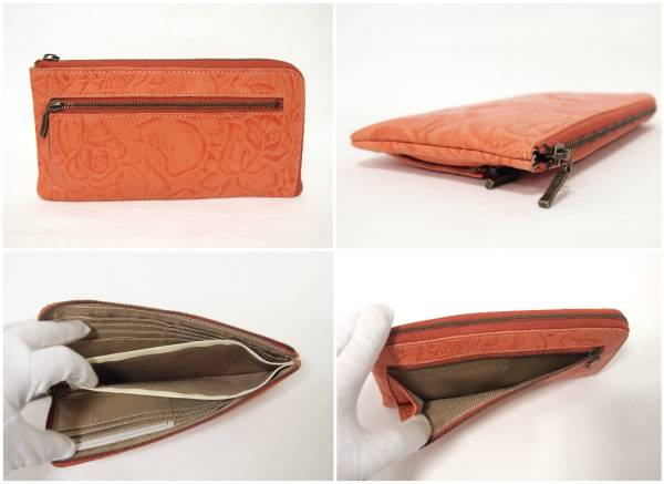 7ba12fa18af8 代購代標第一品牌- 樂淘letao - 本革レザー薄くてすっきり収納花柄L字ファスナー長財布オレンジ新品/軽い薄い牛革綺麗かわいい使いやすい見やすい