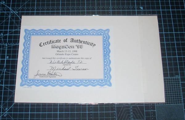 EBA!即決。WITCHBLADE 1/2FAN SPECIAL Megacon'98 CERTIFICATE OF AUTHENTICITY付 サイン有 HABERLIN McDANIEL BATT_画像2