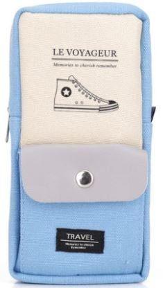 ペンケース パステルカラー シンプル スニーカー ポケット付き (ライトブルー)_画像1