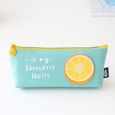 ペンケース フルーツのワッペン付き 英文字 パステルカラー (レモン)