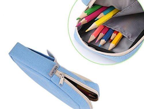 ペンケース パステルカラー シンプル スニーカー ポケット付き (ライトブルー)_画像3