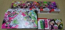 セブン限定 Nintendo Switch スプラトゥーン2セット Amazon限定 amiibo 5種セット ステッカー付き joy-con ネオングリーン ピンク 未開封