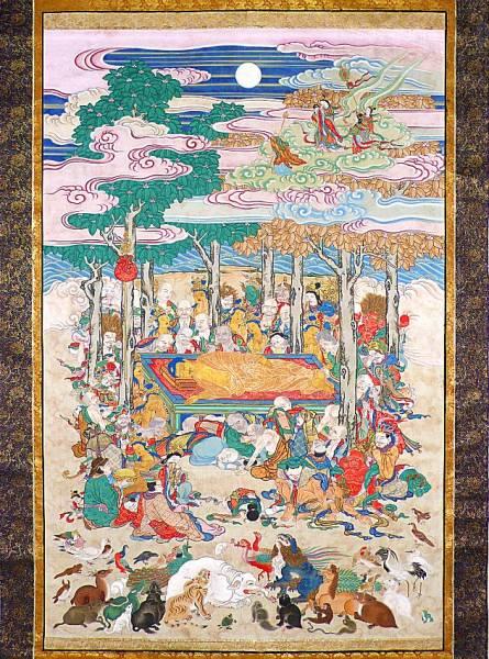 【掛け軸】 仏教美術 「釈迦涅槃図」 絹本彩色 金襴表装 金具 仏画 大幅です