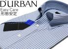 ダーバン【新品/L】形態安定 半袖マルチストライプドレスシャツ ノーネクタイでも美しく着こなせるスナップダウン D'URBAN【青/L】