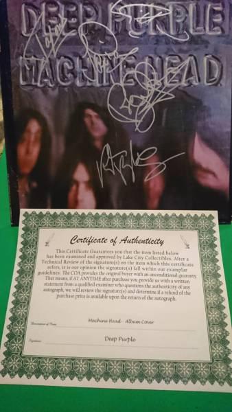 ■■■送料無料/マニア放出■■■ 第2期 Deep Purple 直筆サイン マシンヘッド 証明書