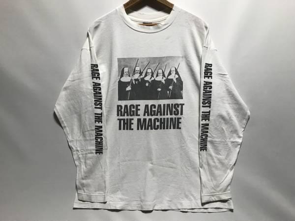 ロンT! 90s RAGE AGAINST THE MACHINE 長袖 Tシャツ 両面 白 L USA製 ビンテージ NIRVANA カートコバーン fear of god METALLICA レッチリ