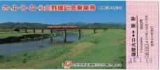 JR九州 さようなら山野線記念乗車券 薩摩大口駅 63/01/31 鹿児島支店
