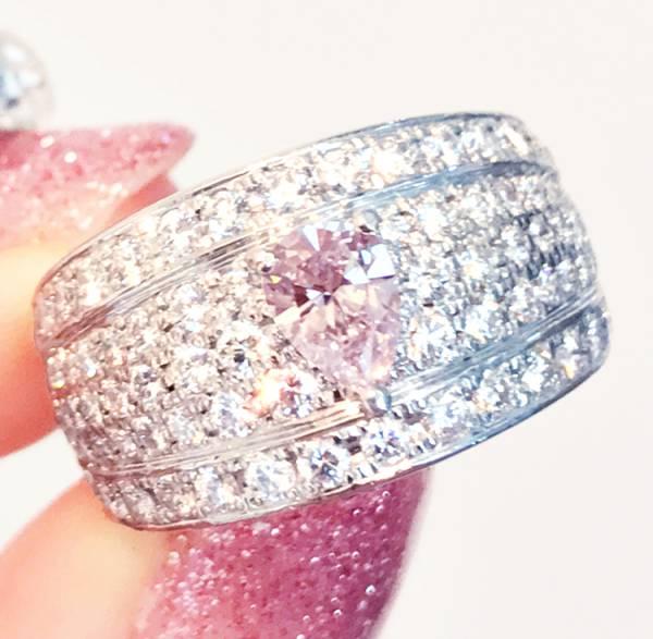 《PINK DIAMOND》PT900 ピンクダイヤ ダイヤ リング ダイヤ VSクラス 0.47