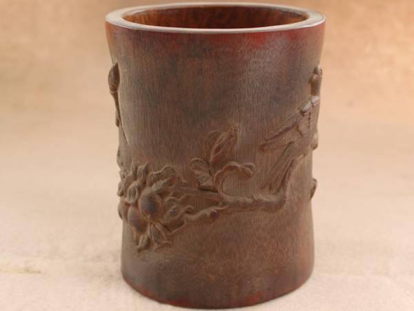 早期収集 竹材手彫 花卉紋 筆筒 筆立 書道品 稀少 q073005