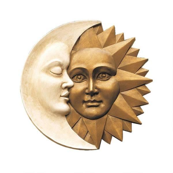 天体のハーモニー 太陽と月 壁面彫刻 彫像/ Celestial Harmony Sun & Moon Wall Decor(輸入品)_画像2