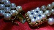 【超美品】◆アコヤ真珠三連ネックレス50㎝◆K14金留め金具
