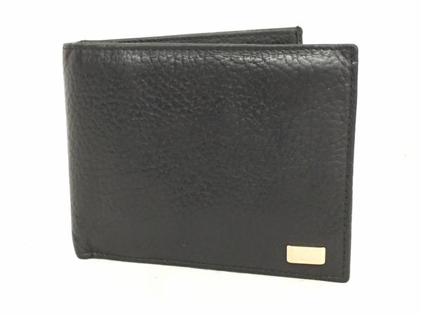 中古 ダンヒル レザー 二つ折り財布 ブラック 黒 メンズ G金具 T2553066_画像1