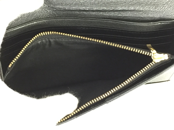 中古 calvin klein カルバンクライン レザー 二つ折り長財布 黒 ブラック メンズ G金具 T2541393_画像4