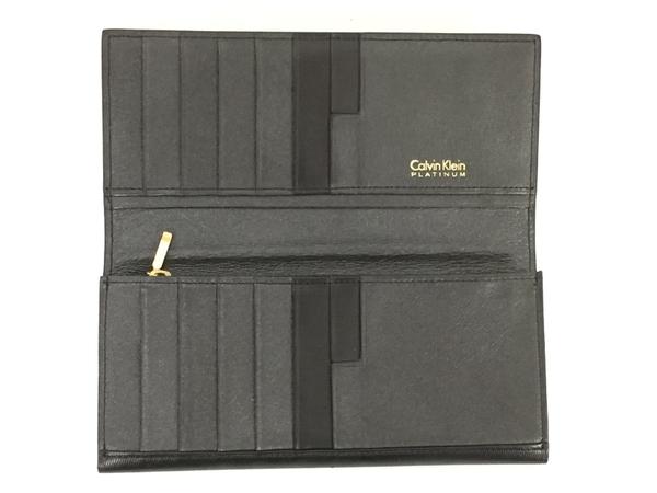 中古 calvin klein カルバンクライン レザー 二つ折り長財布 黒 ブラック メンズ G金具 T2541393_画像2