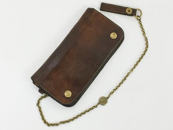 中古 IL BISONTE イルビゾンテ レザー 二つ折り 長財布 キャメル ブラウン ウォレットチェーン付き メンズ 本革 T2541395