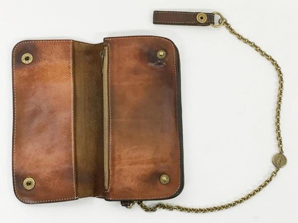 中古 IL BISONTE イルビゾンテ レザー 二つ折り 長財布 キャメル ブラウン ウォレットチェーン付き メンズ 本革 T2541395_画像2