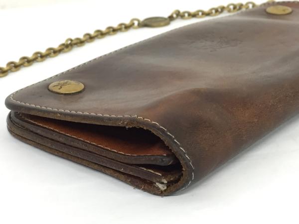 中古 IL BISONTE イルビゾンテ レザー 二つ折り 長財布 キャメル ブラウン ウォレットチェーン付き メンズ 本革 T2541395_画像6