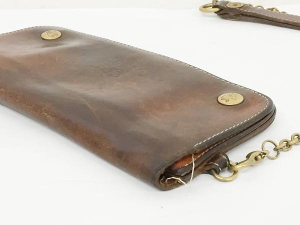 中古 IL BISONTE イルビゾンテ レザー 二つ折り 長財布 キャメル ブラウン ウォレットチェーン付き メンズ 本革 T2541395_画像5