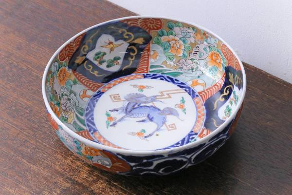 R-030631 明治期 麒麟・獅子の図 色絵深鉢・中(深皿、和食器)_画像1