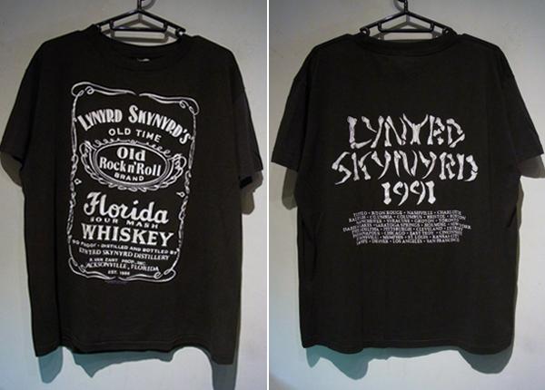 レア 90s LYNYRD SKYNYRD レイナードスキナード ビンテージ ロックTシャツ バンドTシャツ ジャックダニエル 黒 Lサイズ 80s
