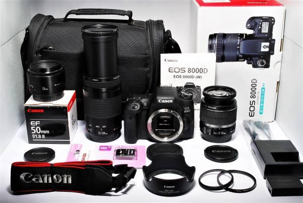 ★新品級★Canon EOS 8000D 300mm超望遠付トリプルレンズ★元箱有り カメラバック付属♪