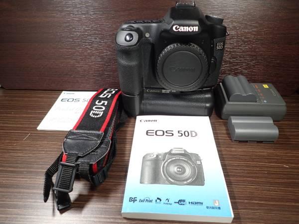 canon キャノン EOS-50D +バッテリーグリップ+取説+予備バッテリー+バッテリーチャージャー+ストラップ 美品 完動品 保証