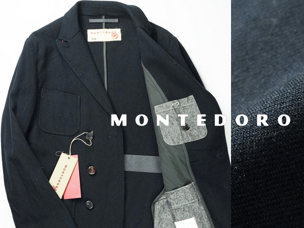 ■新品8万【MONTEDORO】モンテドーロ/スローウェア・グループを牽引するアウターブランド/人気の上品ウールPコート50/MADE IN ITALY/B951