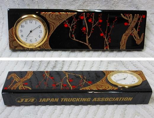 レア即決JTA全日本トラック協会アクセサリー時計 漆塗り?JAPAN TRUCKING ASSOCIATIONトラック野郎デコトラ昭和レトロ旧車アートトラック