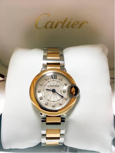 再出品なし!!Cartier カルティエ バロンブルー ドゥカルティエ ウォッチ 28mm ダイヤモンド ピンクゴールド
