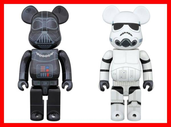STORM TROOPER CHROME Ver. & DARTH VADER CROME Ver. BE@RBRICK 400% SET 未開封新品 ストームトルーパー ダースベイダー ベアブリック_画像1